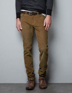 SLIM FIT CORDUROY TROUSERS - Trousers - Man - ZARA United State
