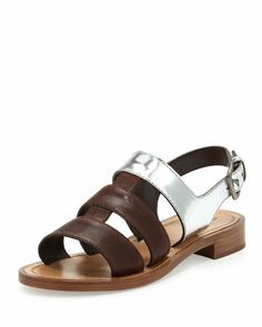 Triple-Strap Flat Sandal, Brown by Miu Miu at Bergdorf Goodman.