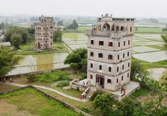The diaolou are fortified multi-storey towers, which were constructed in the Kaiping area from the early Qing Dynasty, reaching a peak in the 1920s and 1930s, when there were more than three thousand of these structures. Today, approximately 1,800 diaolou are still standing. The diaolou served two purposes: housing and protecting against forays by bandits