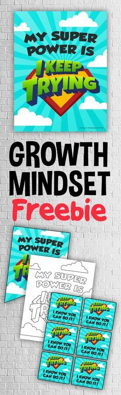 Grab this FREE classroom growth mindset poster, banner, coloring page and teacher notes to keep your students reminded of their super powers in learning! Download by clicking on the linked image above. Also check out the full set of Growth Mindset Posters, Banners, Coloring Pages and Teacher Notes with 20 unique poster designs!