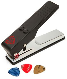 Guitar pick puncher. It punches picks out of old credit cards and the like. Genius. Fun for Rock Star Reader theme!