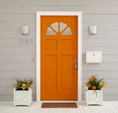 Easy exterior updates fired up close knit | Behr Paintu2014Body Close Knit T17 & Orange door with pale blue or pale gray siding. love it. | House ... pezcame.com