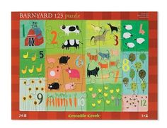 """Barnyard 123 Early Learning Tray Puzzle by Crocodile Creek. $6.99. Weight: 0.8 lbs. Designed in Sweden. Measurements: 15.5 x 11.5 inches. Age: 3+. Materials: cardboard. Crocodile Creek 28931 - Simple but challenging classic tray puzzle. Beautifully-illustrated on front and back. A 24-piece puzzle, great for learning and play. Puzzle is 15.5"""" x 11.5"""". Recommended for 3 years and up. Made in China"""