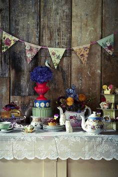 tea party with a floral theme