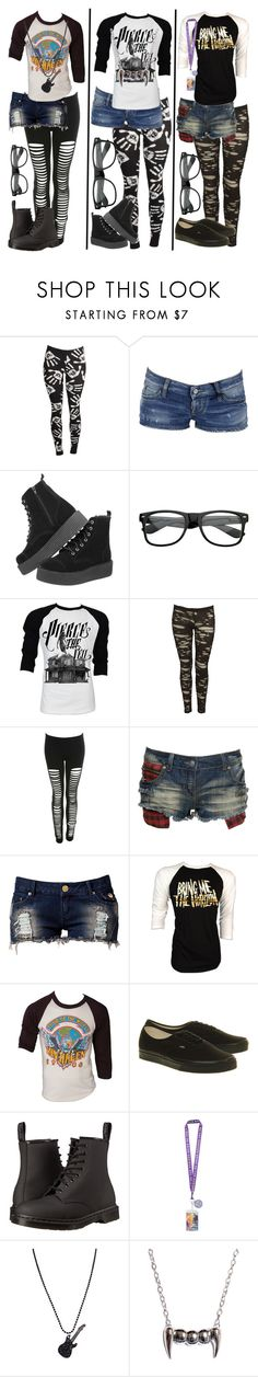 """Outfits I Want To Wear (Ft/ Band shirts)"" by xxxburningcoldxxx ❤ liked on Polyvore featuring Blue Pearl, Dsquared2, T.U.K., Retrò, Miss Selfridge, Crafted, Club L, Sykes, Vans and Dr. Martens"