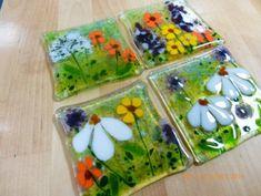 Wild Flowers Fused Glass Coaster