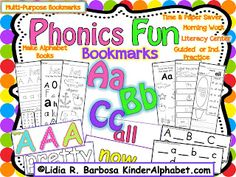 "Fun way to review at the end of the week and creat a mini book out of the ""book Marks"" Kinder Alphabet: Phonics Fun"