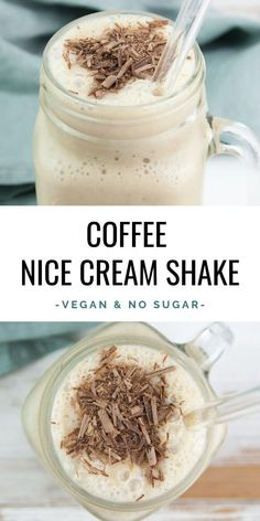 Coffee Nice Cream Shake (vegan and no added sugar) - a refreshing treat for hot summer days Vegan Dessert Recipes, Vegan Smoothie Recipes, Healthy Desserts, Drink Recipes, Beef Recipes, Easy Recipes, Healthy Recipes, Nice Cream, Sweets