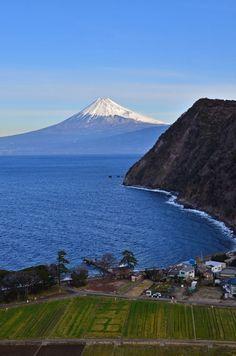 Mount Fuji in a distance.
