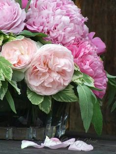 Peach roses and Pink peonies