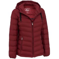 G.H. Bass Hooded Packable Puffy Jacket (83 BAM) ❤ liked on Polyvore featuring outerwear, jackets, puffa jacket, hooded jacket, red jacket, puffy jacket and puff jacket