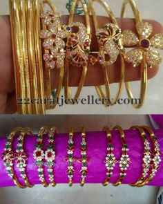 Jewellery Designs: Floral Style Light Weight Bangles