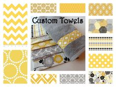 Custom Towels, grey and yellow bathroom, grey chevron, yellow chevron, grey bathroom towels hand towels design by AugustAve, $12.00