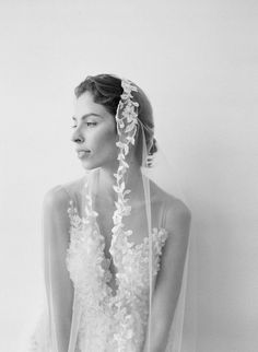 The floral embroidered details on this bridal gown and veil are reminiscent of another time. Bridal designer Hannah Kong created this piece for her 2018 bridal collection. Bridal Gowns, Wedding Dresses, Lace Patterns, French Lace, On Your Wedding Day, Bridal Accessories, Bridal Collection, Lace Detail, Headpiece