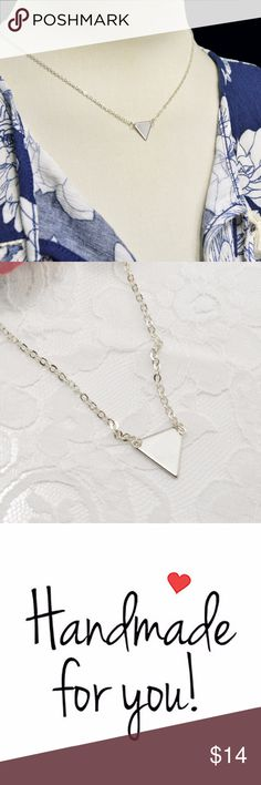 Geometric Triangle Handmade Necklace Silver Plated * Geometric Triangle Handmade Necklace Silver Plated * Triangle 15mm * Delicate, High quality chain,lobster claw clasp. * Comes in a velvet bag & gift box*  ABOUT Silver Plated Care:Plated jewelry is strong, yet delicate. To protect the life of your jewelry, remove when sleeping, exercising, or doing other physically strenuous activities. In addition, avoid contact with perfumes, body sweat, body oils, & other chemicals, including household…