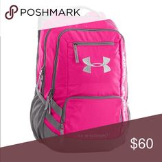 Under Armour Storm Hustle II Backpack. Carry all of your gear with this sporty backpack from Under Armour! Crafted with super sleek details and ample storage,… Gym Backpack, Gym Bag, White Backpack, Rucksack Bag, Duffle Bags, Under Armour Rucksack, Pink Laptop, Lightweight Backpack, School Backpacks