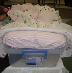 Great idea for an American Girl doll bed made on a storage box.