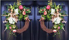 Spring Wreaths Double Door Wreath House Warming by FleursDeLaVie
