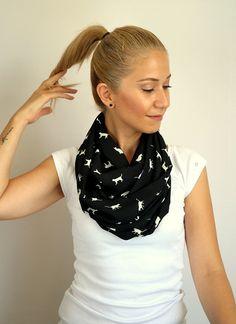 Infinity scarf, fall scarf, winter scarf, chiffon scarf, white cats on the black, cat love, high quality chiffon fabric