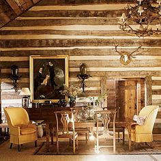 I like seeing interiors of log cabin-type construction, or faux log cabin walls!