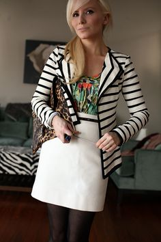 Cute outfit! Stripes, leopard and floral! Which board do i pin it on??? I have a board for each of those things!