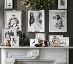 Pottery Barn Create a hearth filled with memories with black and white photographs in silver frames. Then, add sprigs of holly and mercury glass candle pots and ornaments for easy and beautiful holiday decorating.