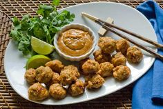 Gluten Free Chicken Meatballs with Thai Sunbutter Sauce Recipe