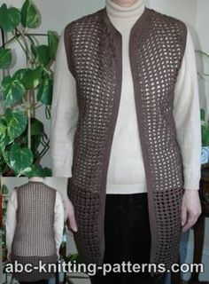 ABC Knitting Patterns - Crochet Shell Lace Vest. It's all in the yarn type and color to change this a bit.