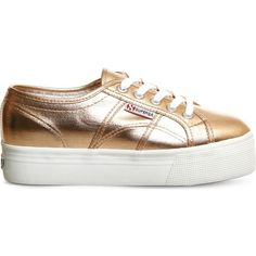 SUPERGA 2790 canvas flatform trainers ($86) ❤ liked on Polyvore featuring shoes, sneakers, rose gold cometu, flatform shoes, laced shoes, canvas lace up sneakers, lace up shoes and plimsoll shoes
