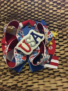 4 of july Ribbon bow Boutique Bows, Ribbon Bows, 4th Of July, Flip Flops, Baby Shoes, Sandals, Men, Clothes, Fashion