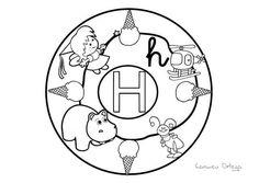 Mandalas del abecedario para colorear: Letra H
