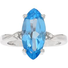 Genuine Blue Topaz and 1/10 CT. T.W. Diamond Sterling Silver Ring ($250) ❤ liked on Polyvore featuring jewelry, rings, diamond jewellery, blue topaz jewelry, diamond jewelry, blue topaz rings and blue topaz diamond ring
