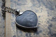 JASPER heart necklace black stone necklace matt by ZokaKurylov