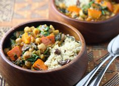 Moroccan chickpea-and-squash stew with quinoa couscous; featured in Week 42 of Everyday Mediterranean. Subscribe here: http://nutrelan.com/everyday-mediterranean-meal-plan-how-it-works/.