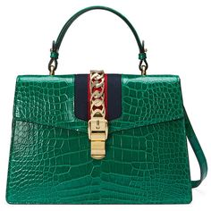 Gucci Sylvie Crocodile Top Handle Bag (71.610 BRL) ❤ liked on Polyvore featuring bags, handbags, emerald green, top handles & boston bags, women, boston bags, emerald green handbag, green purse, croc handbags and hand bags