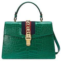 Gucci Sylvie Crocodile Top Handle Bag ($23,130) ❤ liked on Polyvore featuring bags, handbags, purses, emerald green, top handles & boston bags, women, gucci, emerald green purse, chain purse and crocodile purse