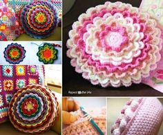 You will love this Blooming Flower Cushion Crochet Pattern and we have included a free video tutorial to step you through the process. Crochet Seed Stitch, Crochet Mat, Crochet Blocks, Crochet Pillow, Cute Crochet, Beautiful Crochet, Afghan Crochet, Crocheted Lace, Crochet Granny