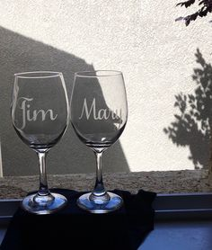 His and Hers Wedding Glass-Anniversary Gift-Couples Etched Wine Glasses-Wedding Gift-Personalized St Monogram Wine Glasses, Etched Wine Glasses, Personalized Wine Glasses, Personalized Bridesmaid Gifts, Bridesmaid Wine Glasses, Wedding Wine Glasses, Bride And Groom Glasses, Bachelorette Gifts, Anniversary Gifts For Couples