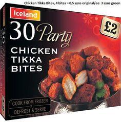 Iceland Party Food Slimming World Syn Values, Slimming World Syns, Slimming World Recipes, Iceland Party Food, Iceland Slimming World, Syn Free Food, Slimmimg World, Chicken Bites, Chicken Tikka
