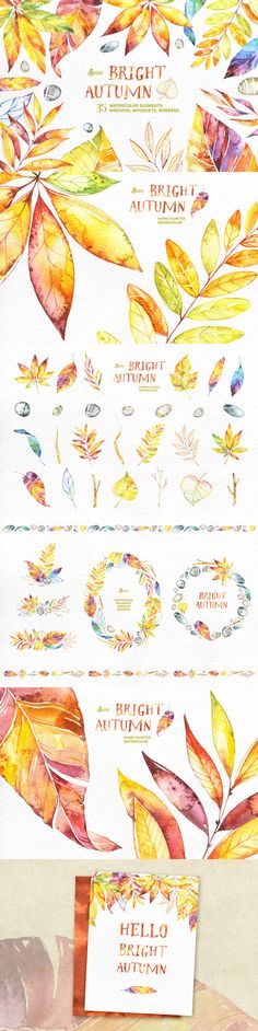 Bright #Autumn. #Watercolor collection