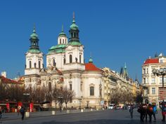 The Church of St Nicholas, the most famous Baroque church in Prague, Czech Republic, stands along with the former Jesuit college in the centre of the Lesser Town Square