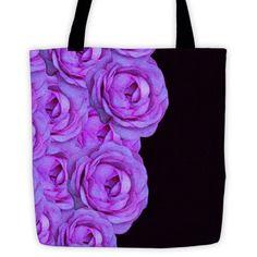 Purple Black Roses Tote bag