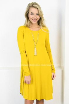 Long Sleeve Swing Dress with Pockets | Mustard