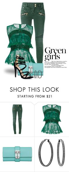"""""""Something Green 3531"""" by boxthoughts ❤ liked on Polyvore featuring Balmain, Georges Hobeika, Bling Jewelry, Boohoo and Green Girls"""
