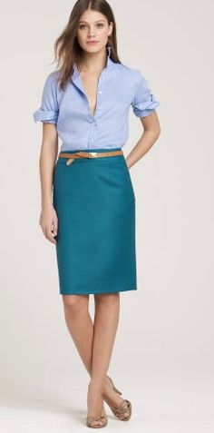 Shop the Pencil skirt in Super wool at J.Crew and see the entire selection of Women's Suiting. Find Women's clothing & accessories at J. Teal Skirt, Peacock Skirt, Gold Skirt, Pencil Skirt Outfits, Pencil Skirts, Work Fashion, Fashion Looks, J Crew Outfits, Work Outfits