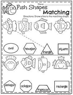 Preschool Shapes Worksheets - Fish Shapes #preschool #oceantheme #preschoolactivities #preschoolworksheets #planningplaytime #shapesworksheets