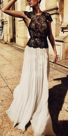 Black lace top + white maxi skirt
