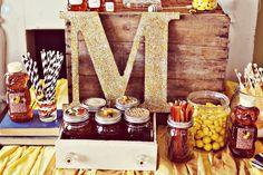 I like the honey straws in the mason jars and a big inital.