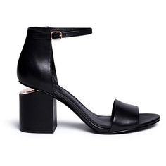 Alexander Wang 'Abby' cutout heel ankle strap leather sandals (32.890 RUB) ❤ liked on Polyvore featuring shoes, sandals, black, black leather sandals, black shoes, leather ankle strap sandals, stiletto sandals and black leather shoes