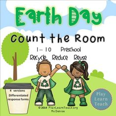 Count the Room - Earth Day Recycle, Reduce, Reuse counting activity for preschool and kindergarten students. $